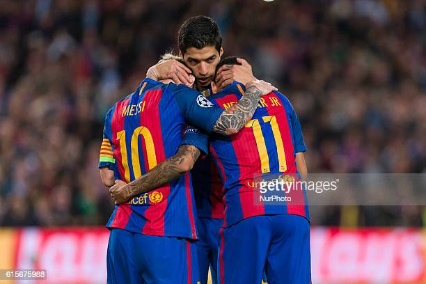 Messi Neymar and Luis Suarez celebrates the victory during the match between FC Barcelona Manchester City for the round 1 of the Champions League...