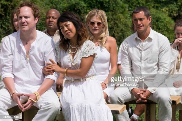 THE PATH Messiah Episode 306 Pictured Patch Darragh as Russel Armstrong Ali Ahn as Nicole Emma Greenwell as Mary Cox Hugh Dancy as Cal Roberts