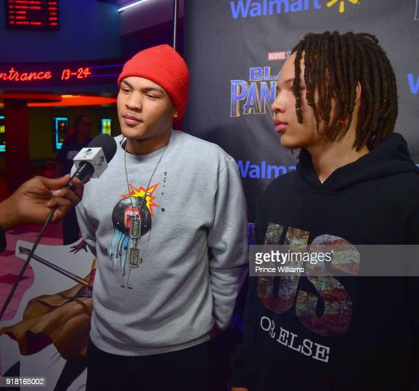Messiah Harris and Domani Harris attend 'Black Panther' Advance Screeing at Regal Hollywood on February 13 2018 in Chamblee Georgia