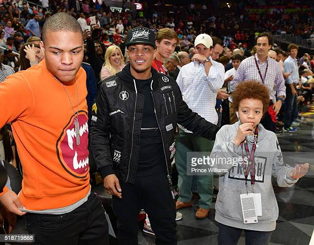 "Messiah Harris, T.I., and Clifford ""King"" Harris attend Cleveland Cavaliers vs Atlanta Hawks Game at Philips Arena on April 1, 2016 in Atlanta,..."