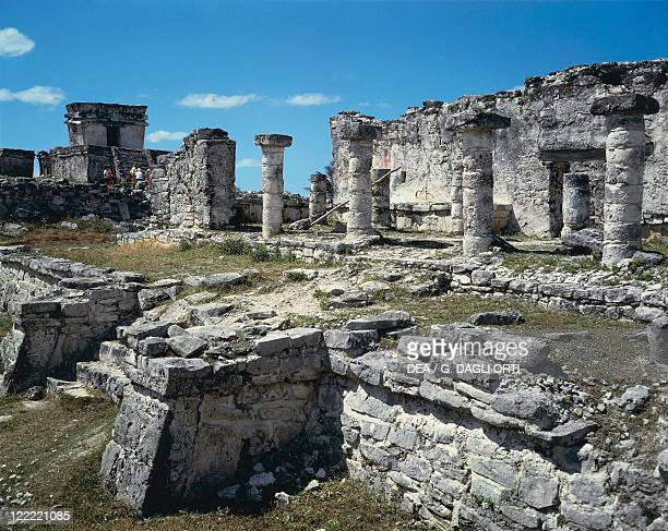 Messico Quintana Roo Maya archaeological site of Tulum Great Palace and Colonnade