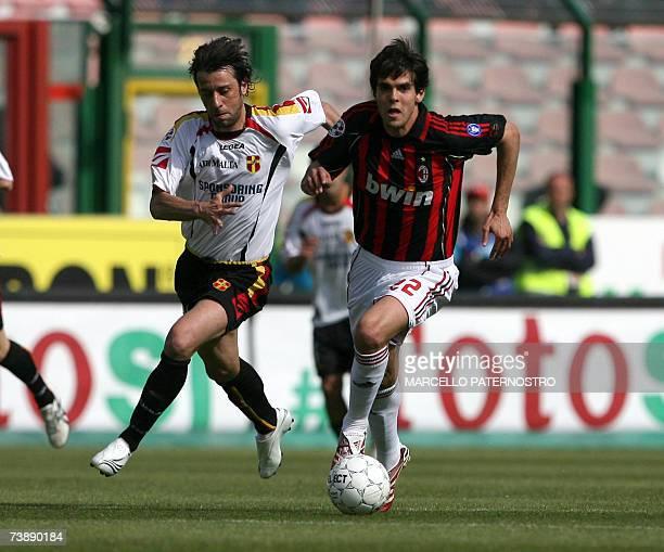 Milan's midfielder Kaka of Brazil vies with Messina's defender D'Aversa during their Serie A football match at Messina's San Filippo Stadium, 15...