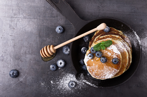 Messthetics. Blueberry pancakes, healthy brunch - gettyimageskorea
