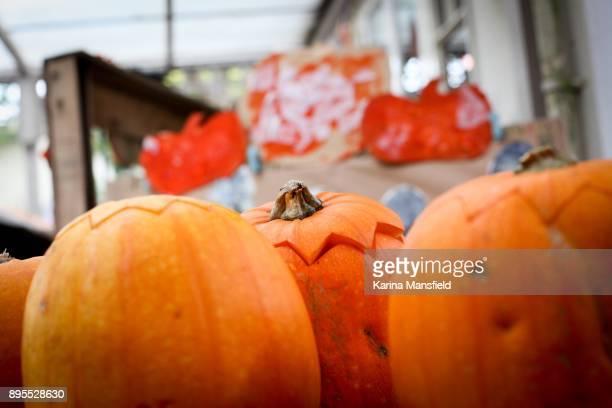 Messthetics halved pumpkins for halloween
