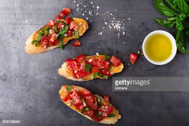 Messthetics. Traditional Italian summer  appetizer, tomato bruschetta