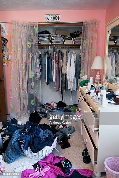 Messy 17 year old teenage girl bed room.