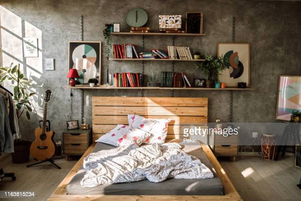 messy bed in the morning - bedroom stock pictures, royalty-free photos & images