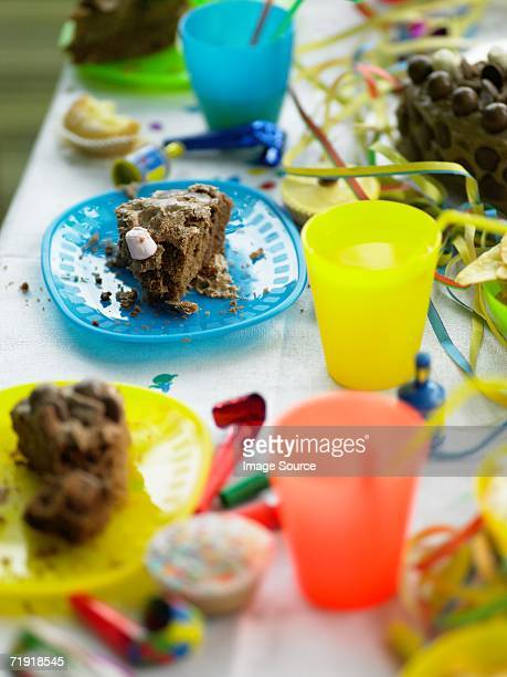 Messy birthday party table