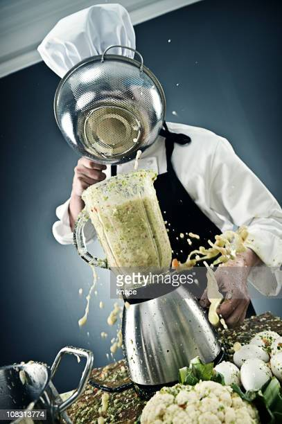 Messy chef with mixer