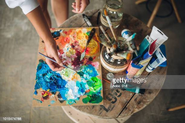 messy creative art studio - art studio stock pictures, royalty-free photos & images