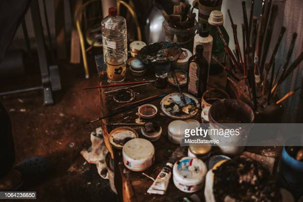 messy desk - art studio stock pictures, royalty-free photos & images