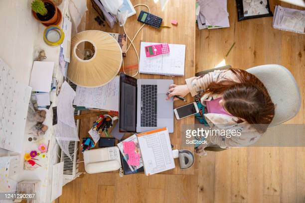 messy desk - learning stock pictures, royalty-free photos & images
