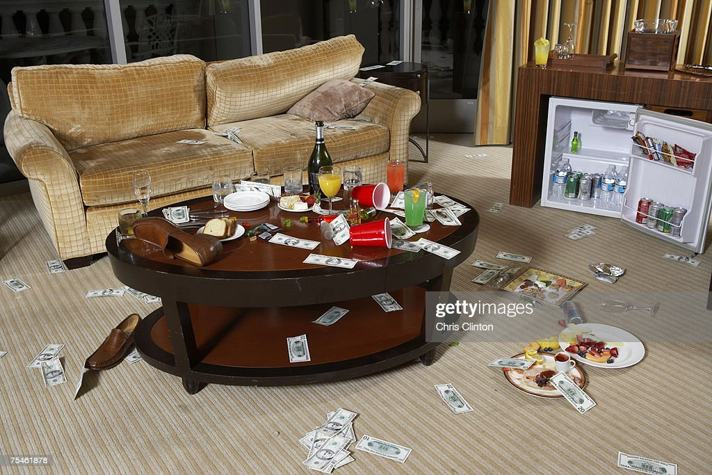 Messy hotel room after party : Stock Photo