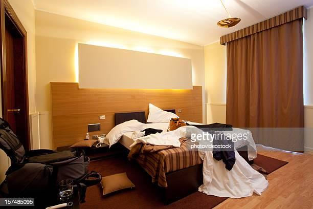 Messy hotel room