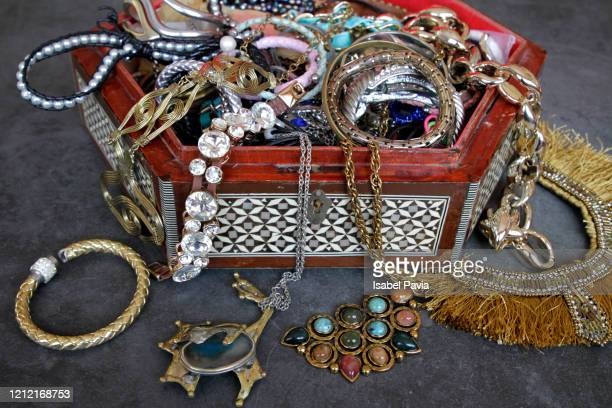 messy jewelry box - necklace stock pictures, royalty-free photos & images