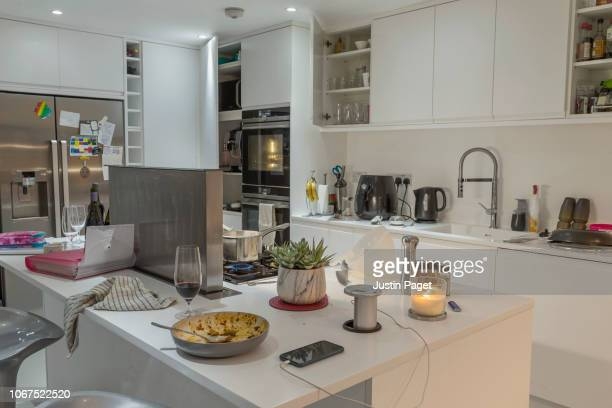messy kitchen - imperfection stock pictures, royalty-free photos & images