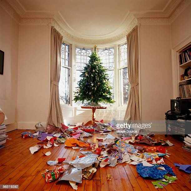 Messy living room at Christmas