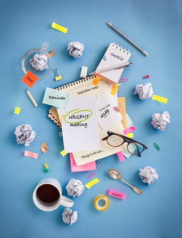 Messy office table top objects image. - gettyimageskorea