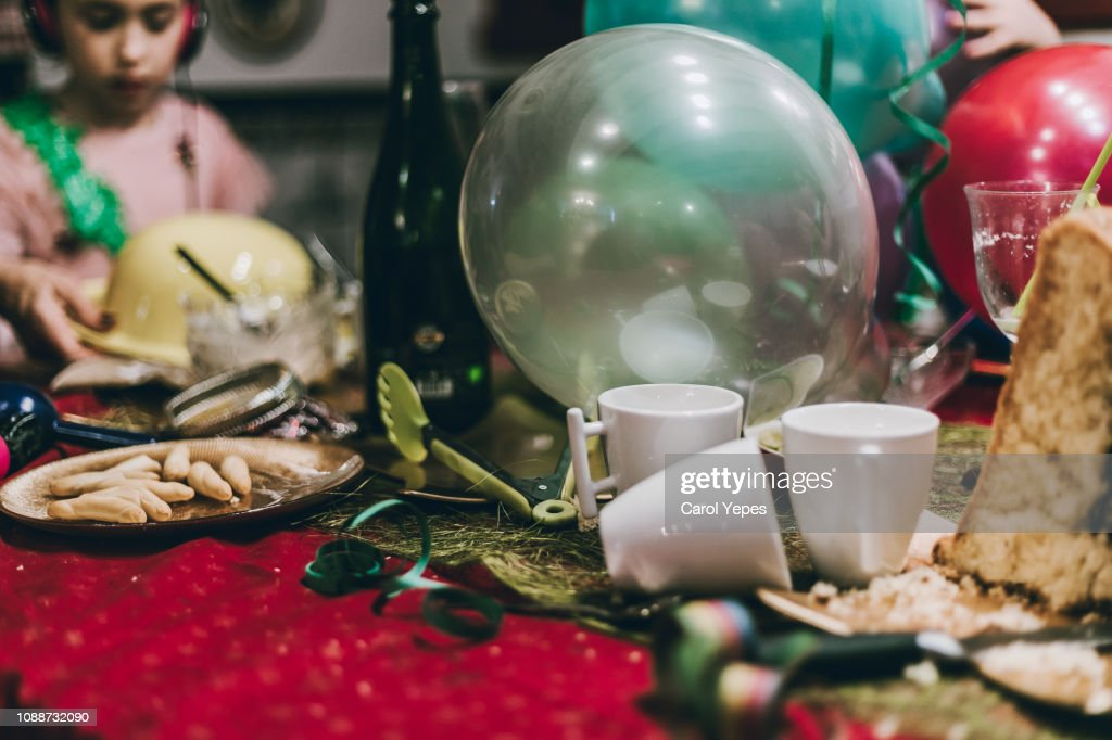 messy party table : Stock Photo