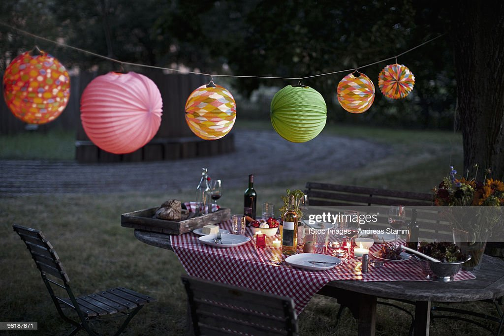 A messy table after a dinner party : Stock Photo