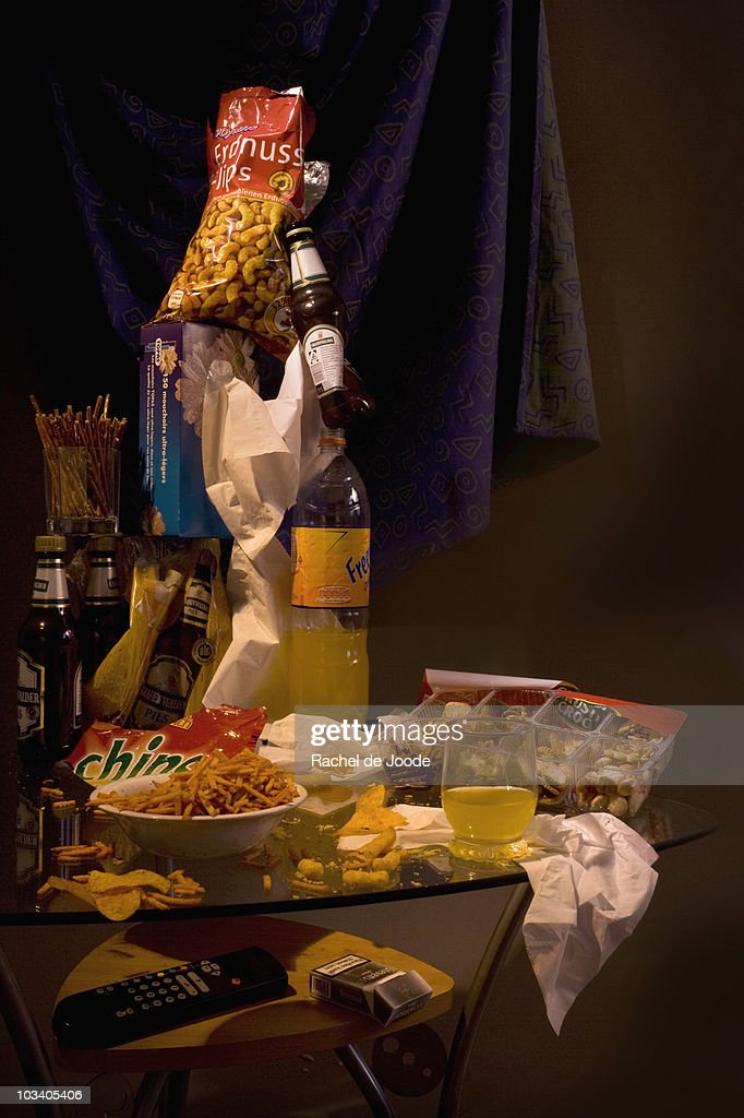 Messy table after a party : Stock Photo