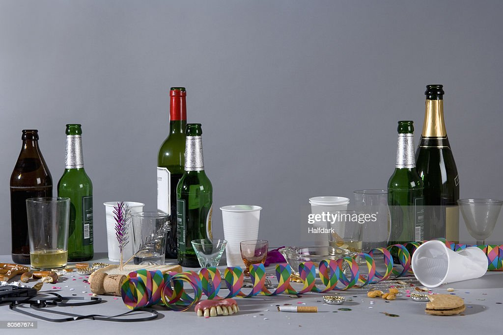 A messy table after a party : Stock Photo
