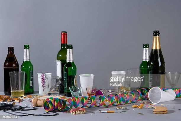 A messy table after a party
