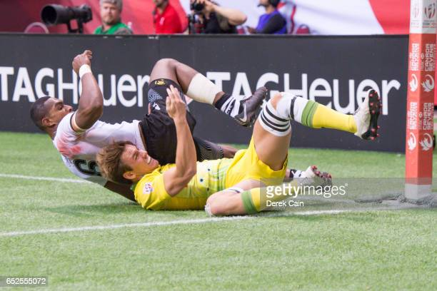 Mesulame Kunavula of Fiji is tackled by Lachie Anderson of Australia during day 2 of the 2017 Canada Sevens Rugby Tournament on March 12 2017 in...