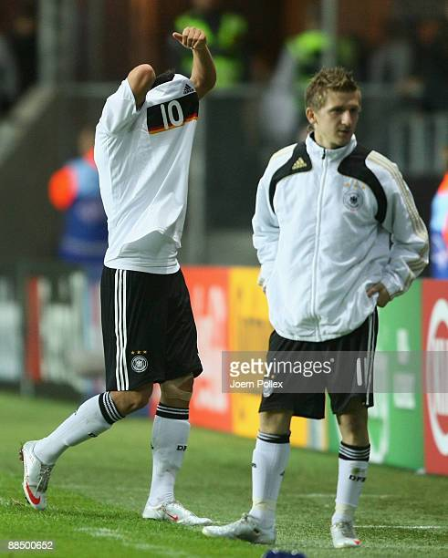 Mesut Oezil and Marko Marin of Germany are seen after the UEFA U21 Championship Group B match between Spain and Germany at the Gamla Ullevi Stadium...