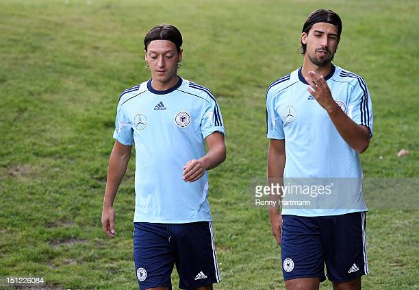 Mesut Oezil and Sami Khedira during a training session on September 04, 2012 in Barsinghausen, Germany, three days before their FIFA World Cup Brazil...