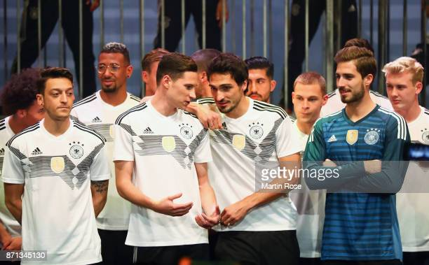 Mesut Oezil Julian Draxler Mats Hummels and Kevin Trapp attend the presentation of the new adidas Germany kit for the 2018 FIFA World Cup Russia at...