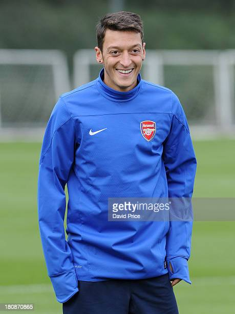 Mesut Oezil of Arsenal during the Arsenal Training Session at London Colney on September 17, 2013 in St Albans, England.