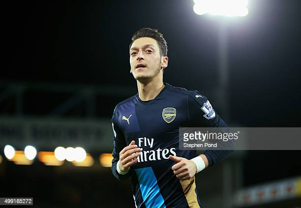 Mesut Oezil of Arsenal looks on during the Barclays Premier League match between Norwich City and Arsenal at Carrow Road on November 29 2015 in...