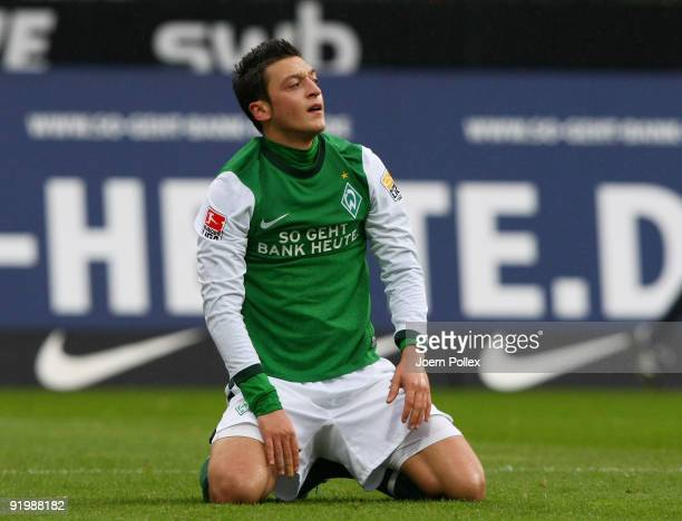 Mesut Oezil of Bremen looks on during the Bundesliga match between SV Werder Bremen and 1899 Hoffenheim at Weser Stadium on October 17 2009 in Bremen...