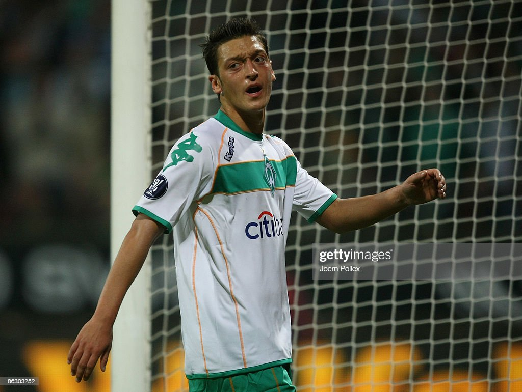 Mesut Oezil of Bremen reacts during the UEFA Cup Semi Final first leg match between SV Werder Bremen and Hamburger SV at the Weser stadium on April 30, 2009 in Bremen, Germany.