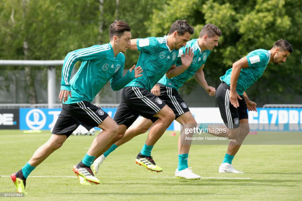 Mesut Oezil of Germany and his team mates Mats Hummels, Mario Gomez and Sami Khedira run during the Germany training session ahead of the 2018 FIFA World Cup at CSKA Sports Base Vatatinki on June 14, 2018 in Moscow, Russia.