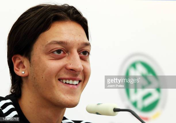 Mesut Oezil of Germany attends a press conference ahead of their UEFA EURO 2012 semifinal match against Italy at the Germany press centre on June 25...