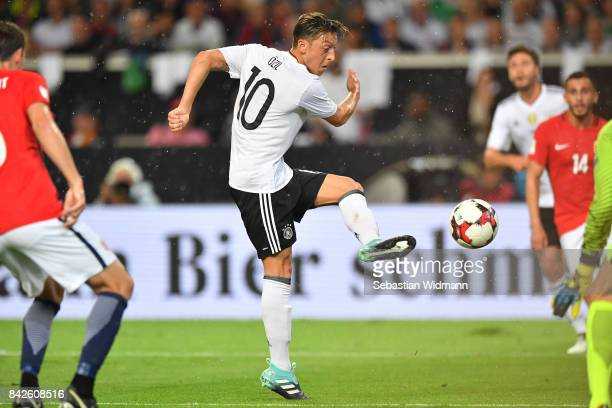 Mesut Oezil of Germany during the FIFA 2018 World Cup Qualifier between Germany and Norway at MercedesBenz Arena on September 4 2017 in Stuttgart...