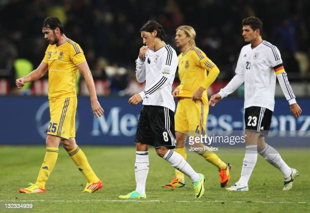 Mesut Oezil of Germany is seen during the International Friendly match between Ukraine and Germany at Olympiyskiy Stadium on November 11, 2011 in...