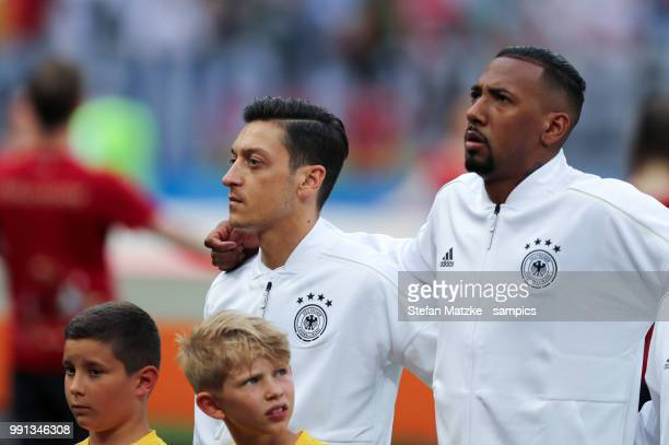 Mesut Oezil of Germany Jerome Boateng of Germany during the 2018 FIFA World Cup Russia group F match between Germany and Mexico at Luzhniki Stadium...