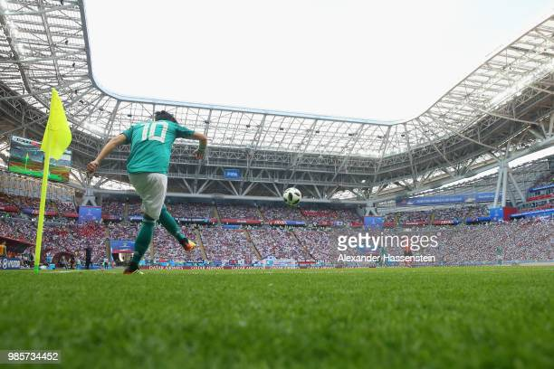 Mesut Oezil of Germany kicks a corner during the 2018 FIFA World Cup Russia group F match between Korea Republic and Germany at Kazan Arena on June...