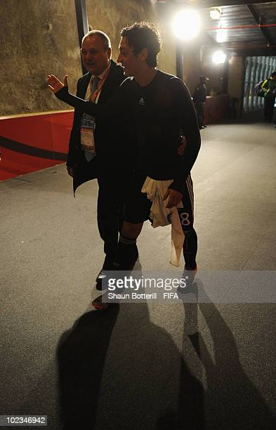Mesut Oezil of Germany leaves the field after the 2010 FIFA World Cup South Africa Group D match between Ghana and Germany at Soccer City Stadium on...