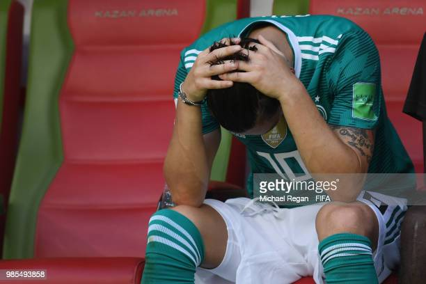 Mesut Oezil of Germany looks dejected after the 2018 FIFA World Cup Russia group F match between Korea Republic and Germany at Kazan Arena on June 27...