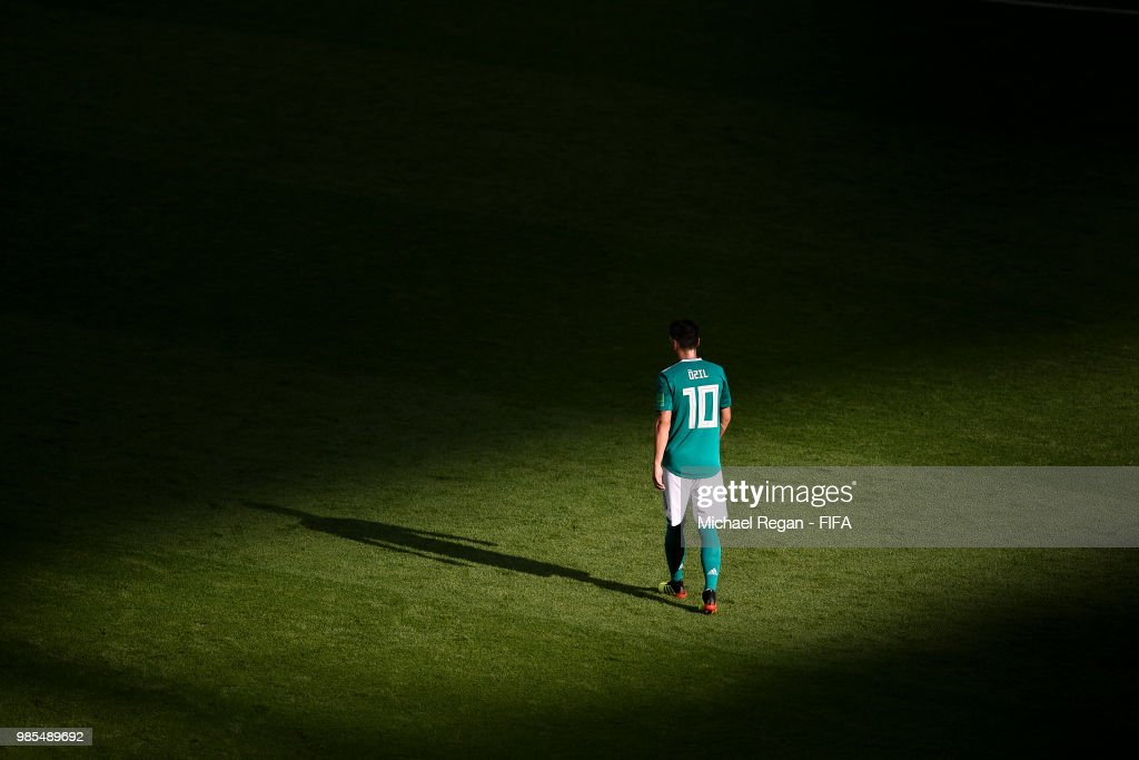 Mesut Oezil of Germany looks dejected during the 2018 FIFA World Cup Russia group F match between Korea Republic and Germany at Kazan Arena on June 27, 2018 in Kazan, Russia.