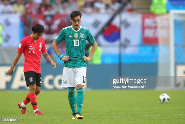 Mesut Oezil of Germany looks dejected following his sides defeat in the 2018 FIFA World Cup Russia group F match between Korea Republic and Germany...