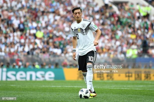 Mesut Oezil of Germany looks to pass the ball during the 2018 FIFA World Cup Russia group F match between Germany and Mexico at Luzhniki Stadium on...