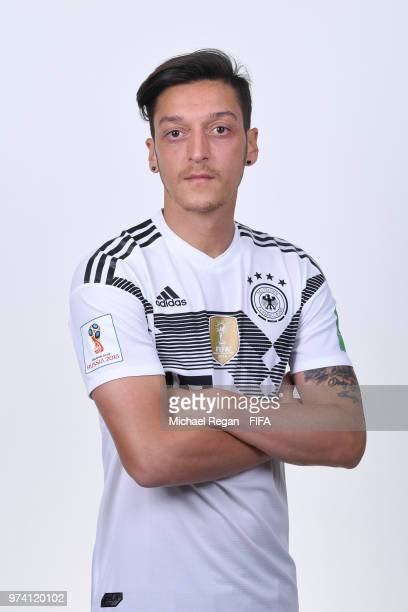 Mesut Oezil of Germany pose for a photo during the official FIFA World Cup 2018 portrait session on June 13 2018 in Moscow Russia