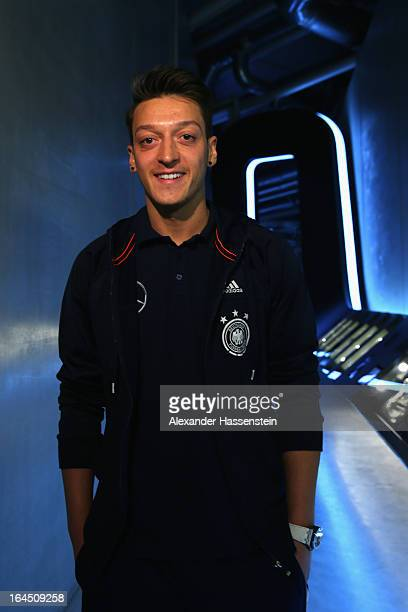Mesut Oezil of Germany poses after a press conference of the German national football team at adidas World of Sports Brand Center on March 24 2013 in...