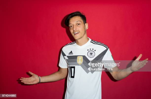 Mesut Oezil of Germany poses for a portrait during the official FIFA World Cup 2018 portrait session on June 13 2018 in Moscow Russia