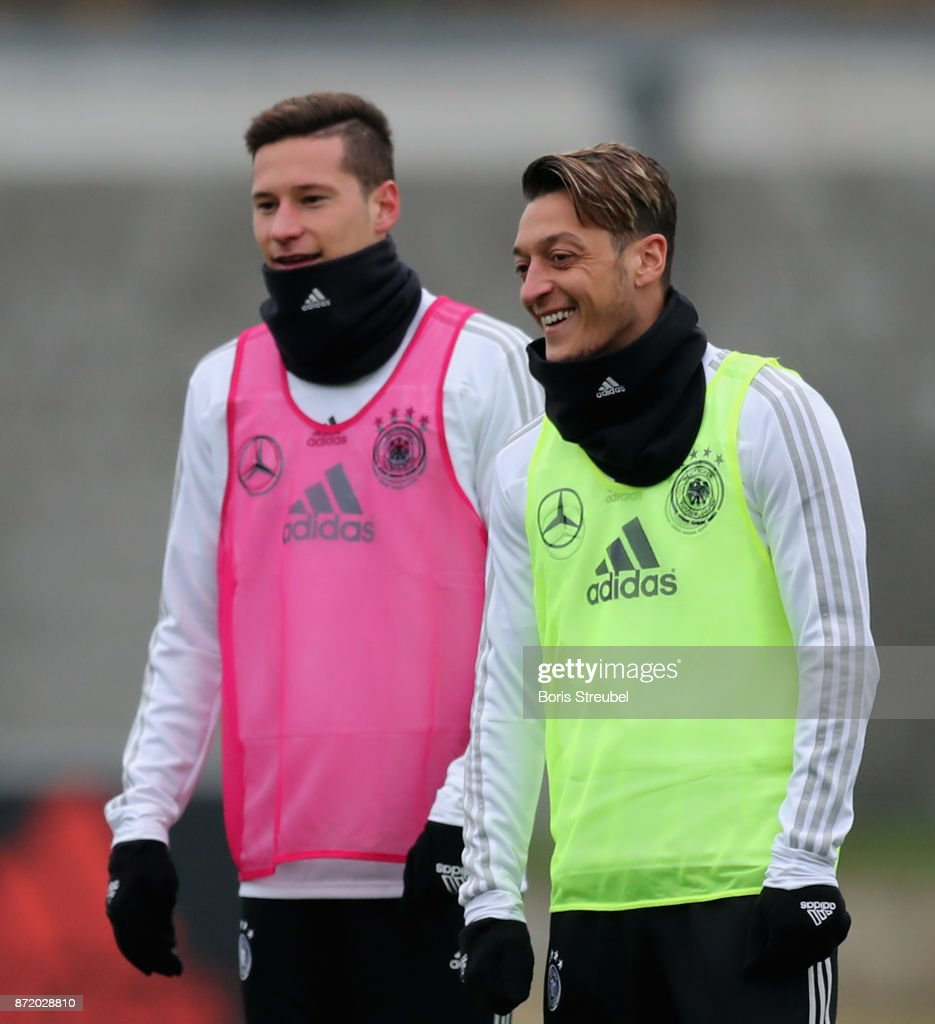 Mesut Oezil of Germany reacts during a training session of the German National team at Stadion auf dem Wurfplatz on November 9, 2017 in Berlin, Germany.
